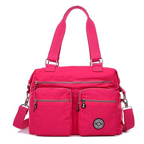 Tiny Chou, borsa con tracolla, borsetta a mano in nylon impermeabile con tasche grandi, rosso