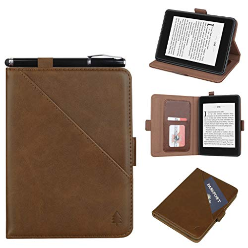 n Kindle 10th Generation (2019) Tablet, PU Leder Stand Case Cover mit Passport Card Slots Protector Buch Shell mit Smart Auto Wake/Sleep Funktion (Braun) ()