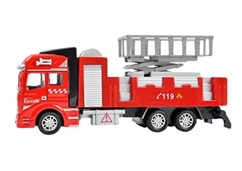 JIAHFR Jouet de Camion Bébé Jouet de Pompier 1:48 Echelle Modelage Véhicules Miniature Fire Rescue Truck Cannon à Eau Voiture Toy Cadeau Noël/ Premier Age/ Anniversaire pour Garçon Filles Enfants