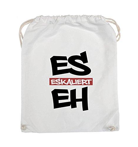 Comedy Bags - Es eskaliert eh - GRAFFITI - Turnbeutel - 37x46cm - Farbe: Schwarz / Weiss-Neongrün Weiss / Schwarz-Rot