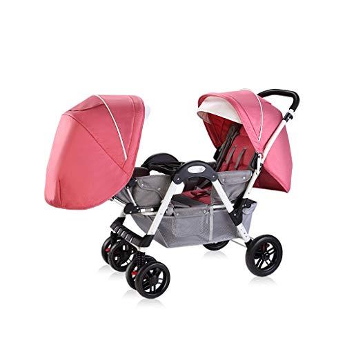 MILU Zwillingskinderwagen Können Sitzen Und Liegen,Ultraleicht Kinderwagen Und High-Landscape-Kinderwagen Mit Einfachem Design (Farbe : Rosa)