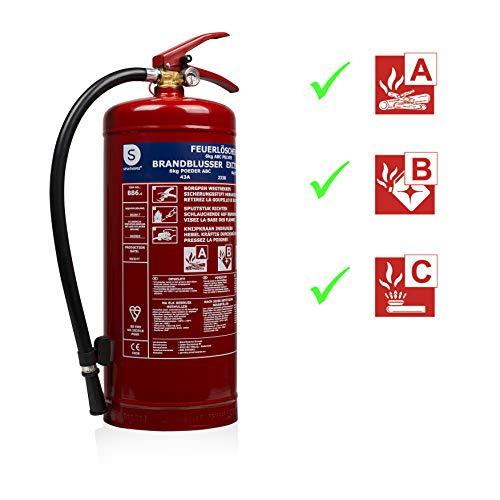 Smartwares 10.014.72 (BB6) Extintor-6kg Polvo seco Resistencia al Fuego ABC Incluye Soportes,...