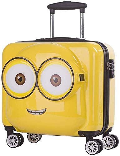 Atipriya Polycarbonate Yellow 20 Inch Minions Trolley Spinner Carry on Suitcase Travel Bag with TSA Lock