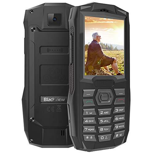 Blackview BV1000 Outdoor Handy, Mobiltelefone ohne Vertrag IP68 Wasserdicht Stoßfest, 3000mAh Batteria, DREI Kartenfächer 2.4 Zoll Display FM-Radio Senioren Handy Schwarz