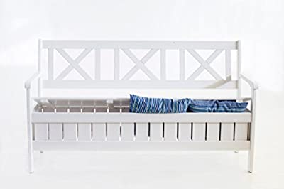 Ambientehome Truhenbank 157 cm weiß 3er Gartenbank massive Holzbank