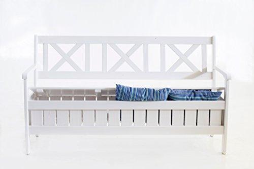 Ambientehome Truhenbank 157 cm weiß 3er Gartenbank massive Holzbank - 2