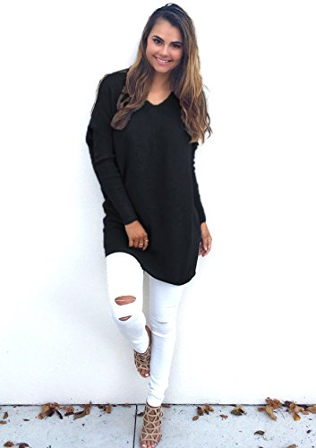 Yidarton Pullover V-Ausschnitt Damen Oberteile T Shirt Bluse Langarmshirt Elegante Casual Top Lässige Basic Langärmelige Schwarz
