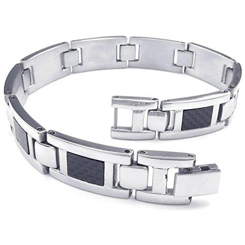 Adisaer Herren Armband Edelstahl Rechteck Kette Armreifen Silber Schwarz Für Männer Lange 21.59CM Punk (Kostüm Fischer Indische)