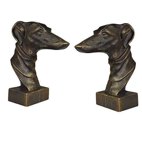 AB Tools Windhund Whippet Hund Büste Kopf Statue Ornament Buch Ende Gusseisen Paar -
