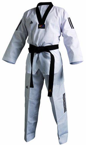 adidas–Dobok Adiclub 3S–con solapa negra)–Traje de taekwondo, unisex, 210