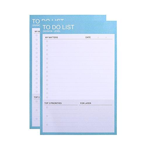 Phyxin 2Stück Täglich zu Do Listen, Abreißen Schreibtisch Memo Pad, Notitzbuch und Organizer, undatiert, 40Blatt, 18,5x 12,4cm Blau - 2 Stück Schüler-schreibtisch