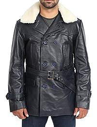 56a976a537bf A1 FASHION GOODS Herren Marine Leder Graben Mantel Taillengürtel Militär  Zweireiher Jacke - Admiral