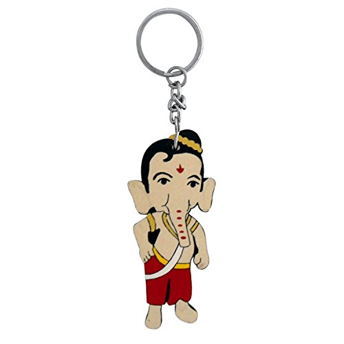 The Marketvilla Single Sided Wooden God Keychains My Friend Ganesha Cartoon Keychain With Metal Key Ring For Kids, Boys & Girls  available at amazon for Rs.115