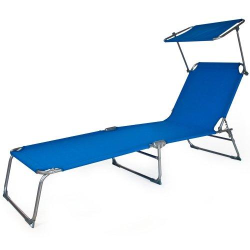 TecTake Gartenliege Sonnenliege Strandliege Freizeitliege mit Sonnendach 190cm -diverse Farben- (Blau) - 5