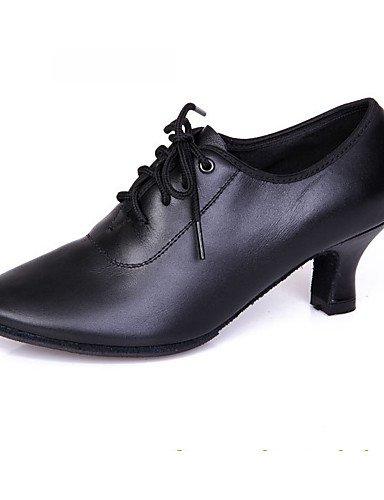 La mode moderne Non Sandales Chaussures de danse pour femmes personnalisables en cuir Cuir/Tap Jazz/moderne talons Talon Noir Performance/pratique US6.5-7/EU37/UK4.5-5/CN37
