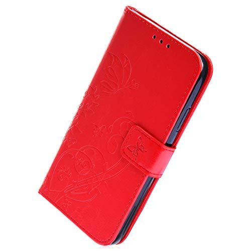 Herbests Kompatibel mit Huawei P20 Handy Schutzhülle Klapphülle Vintage Schmetterling Blumen Lederhülle Brieftasche PU Leder Flip Tasche Wallet Case Handyhülle Handytasche,Rot