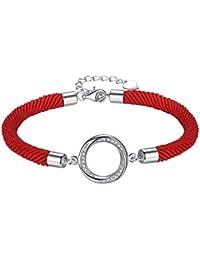 Aoiy - Pulsera de las mujeres en plata de ley, círculo de la eternidad con Circonita, Cordón de algodón rojo, zdb019ho