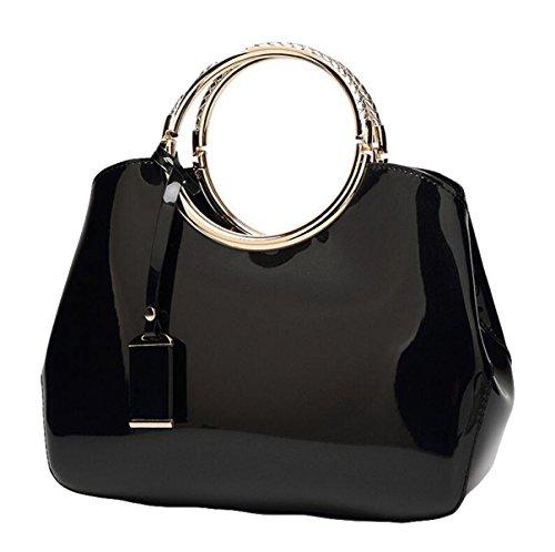 Art Und Weise Helle Lederne Handtaschenschulterbeutelnieten Einfaches Wildes Black