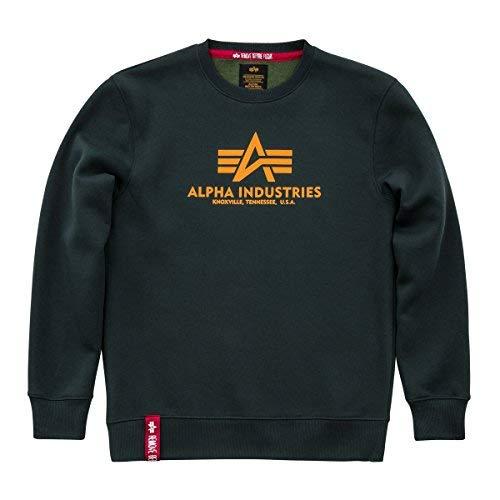 Alpha Industries Basic Sweatshirt Grün/Gelb M Logo Military Sweatshirt