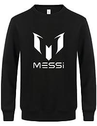 WTUS Hombre Fútbol Barcelona Messi Sudadera Código Grande de Algodón Manga Larga