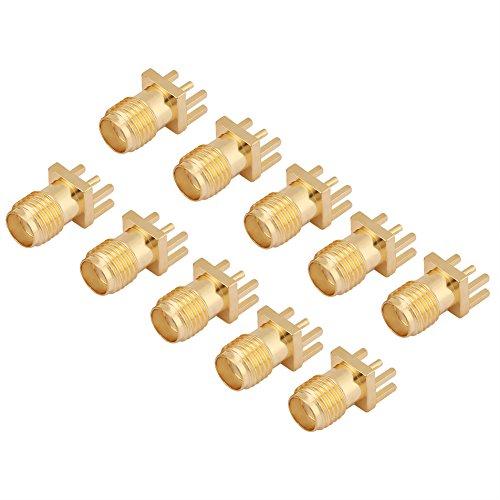 KEYREN Messing-Buchsenbasis, 10 Sma-Buchsen-Leiterplattenmontage 50 Ohm Hf-Steckverbinder (Stecker & Sockel Kostüm)