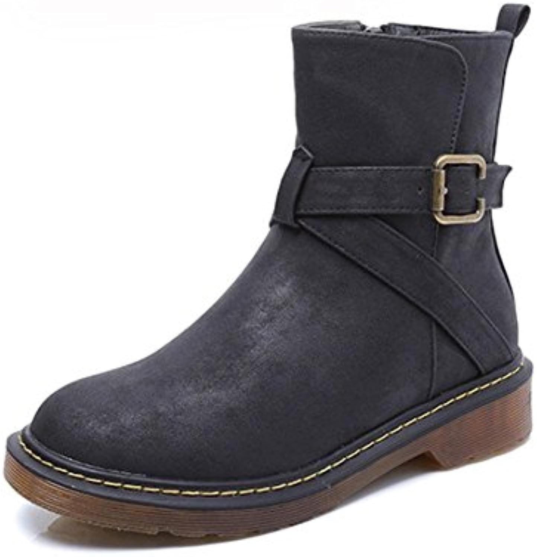 MEILI Zapatos de mujer, botas de mujer, cálido, botas, botas Martin, hebilla de cinturón, áspero con botas de...