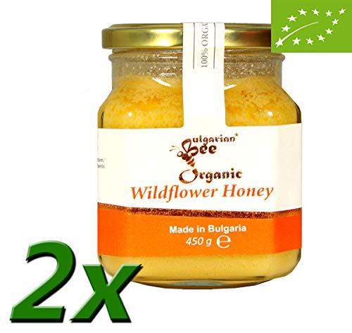 900 g Miel de flores silvestres y hierbas orgánicas, Certificado sin antibióticos, sin azúcar, sin calentar, sin pasteurizar, crudo, miel real BulgarianBee®