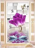 Keshj 3D Foto Wallpaper Murale Personalizzato Lago Dei Cigni Fiori Viola Portico Soggiorno Decorazioni Per La Casa Murales 3D Carta Da Parati-350cmx245cm