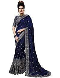 Nivah Fashion Net Embroidery Saree with Blouse Piece(K815)