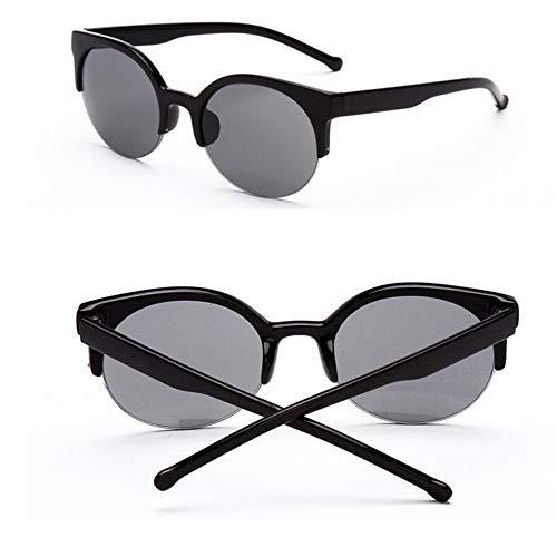 LAMAMAG Sonnenbrille Cat Eye Sonnenbrillen Damen Designer Super Round Circle Halbrandlose Sonnenbrille Gafas Oculos de sol Feminino, w