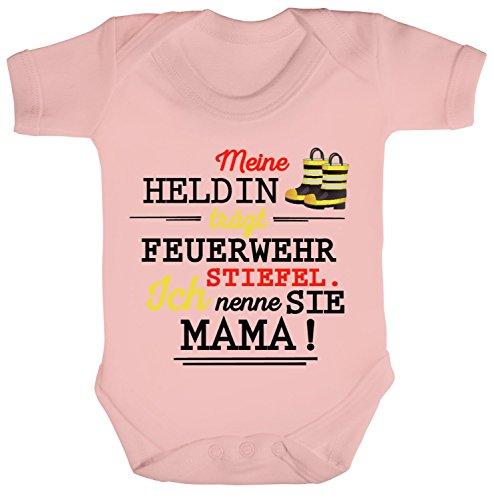 feuerwehrstiefel pink ShirtStreet Geschenk Muttertag Strampler Bio Baumwoll Baby Body kurzarm Mama-Meine Heldin trägt Feuerwehrstiefel, Größe: 12-18 Monate,Powder Pink