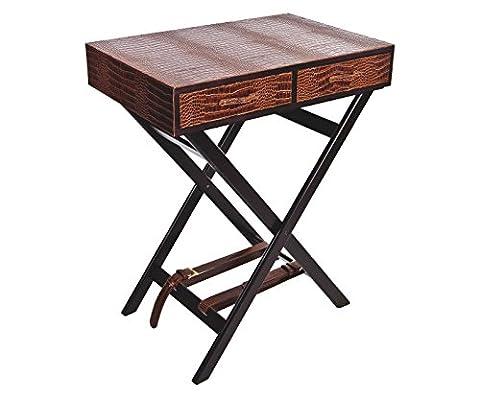 Signature Home Collection AP-100-A01 Table d'appoint Structure en bois et plateau en cuir avec imprimé croco 2 tiroirs Marron clair H 70 cm 60 x 40 cm