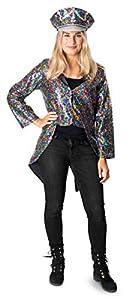 Folat 64671 Chaqueta con lentejuelas arcoiris para mujer-Talla S-M, multicolor