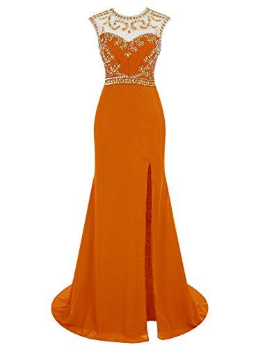 Dressystar Robe femme,Robe de soirée longue à sirène, fendue, aux perles en mousseline Orange