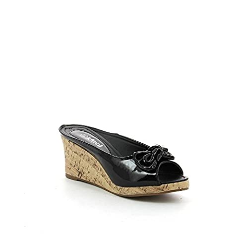 Ideal Shoes - chaussure femme compensées ZOE Noir