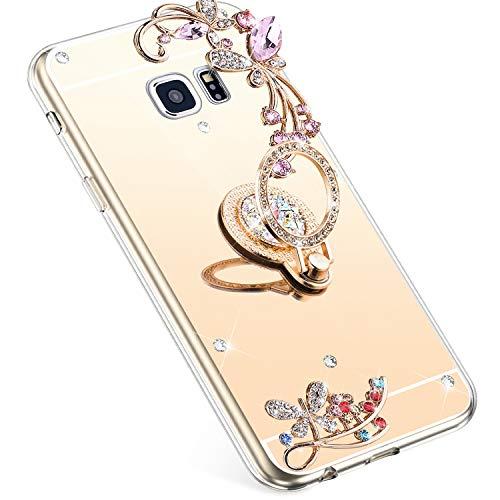 Uposao Kompatibel mit Samsung Galaxy S7 Edge Hülle Glitzer Spiegel TPU Schutzhülle Bling Strass Diamant Silikon Hülle Glänzend Kristall Blumen Silikon Handyhülle mit Ring Ständer Halter,Gold