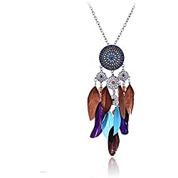 Lureme Native American Atrapasueños Vistoso Pluma Pendant Largo Plata Tone Encanto Cadena Collar for Women 01000786-1