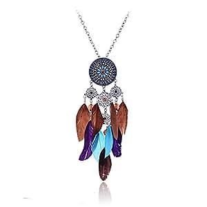 Lureme Indien d'Amérique Capteur de Rêves Attrape-rêves Longue Chaîne de Ton Argent Collier pour les Femmes 01000786-1