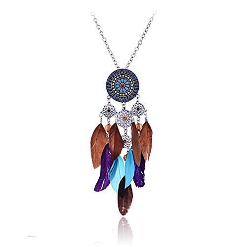lureme®collar de cadena tono largo plata americana atrapasueños colgante colorido pluma nativa (01000786-1)