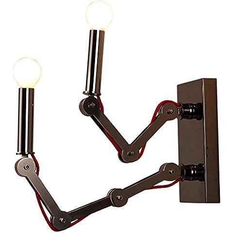 BJVB Corredor Industrial Metal creativo de pared en pared lámpara hierro Retro pared lámpara balancín doble engranaje cadena enciende la lámpara puede cambiar los apliques de pared Base de hierro