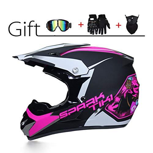 LEENY Motocross-Helm - Herren Motorradhelm Geschenk-Set mit Brille/Maske/Handschuhe, Motorrad Sports Racing DH Enduro-Helm ATV MTB Quad Motorräder Off-Road Crosshelm für Männer Damen,Pink,M -