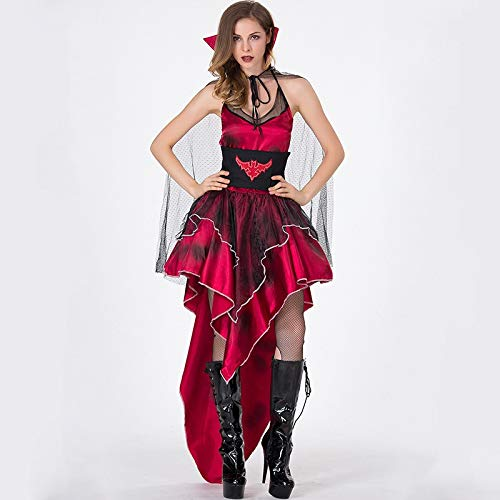 ZYJT Halloween Dame Kostüm-Parteidekoration Der Erwachsenen Frau Halloweens Furchtsame Rote Sexy Kleiderluxus (Color : Red, Size : One Size)