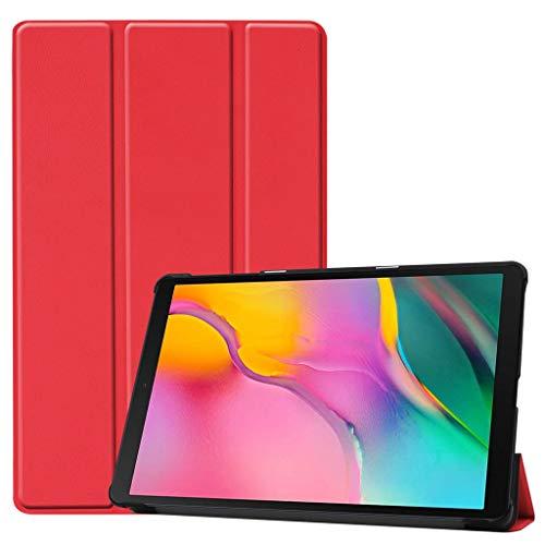 Für Samsung Galaxy Tab A 10.1 2019 SM-T515 / SM-T510 Fall, Dkings Tri-Fold Stand Leder Shell Stoßfest Gebürsteter Rahmen Skin Ultra Glatte Hülle Zurück für Samsung, 2019 (Red)