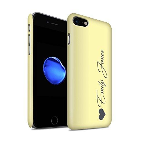 Personalisiert Individuell Pastell Töne Matte Hülle für Apple iPhone 7 / Rosa Herz Design / Initiale/Name/Text Snap-On Schutzhülle/Case/Etui Gelbes Herz