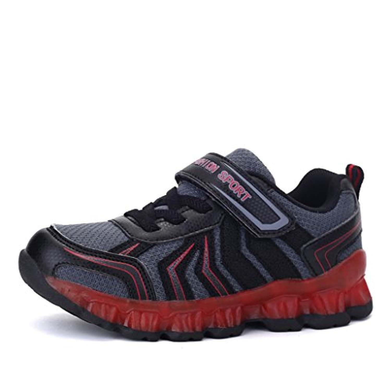 DoGeek - Led Light Up Kids Trainers Boys Girls - 7 Colors Light - USB Charge -Flashing Sports Shoes (25 EU, Red)