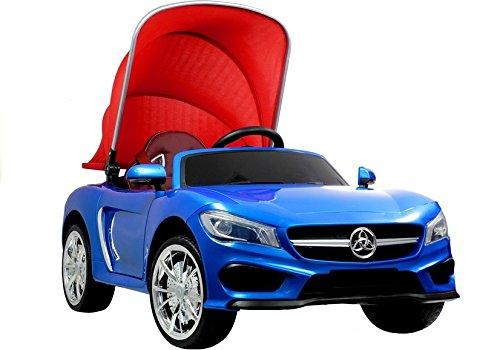 Elektro Kinderauto Elektrisch Ride On Kinderfahrzeug Elektroauto Fernbedienung - Cabriolet mit Dach - Blau