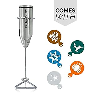 KitchenProP Super light handheld Milk/whisk frother with Stainless stand-Great Gift Idea for Cappuccino, Latte, Matcha Tea, Hot Chocolate, Butter coffee, Protein Shakes, Powder Drinks, Eggs (Grey)