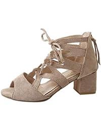 VICGREY Sandali da Donna con Zeppa Estive Elegant Scarpe Donna Tacco Medio  Sandali Partito Toe Scarpe Casuali Sandali Donna Estive… 81e08411286