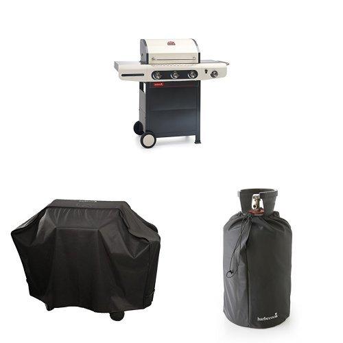 barbecook Gasgrill, Siesta 310, schwarz / creme, 80 x 76 x 52,6 cm, 2239231210 + Abdeckhaube + Gasflaschenhaube 11Kg