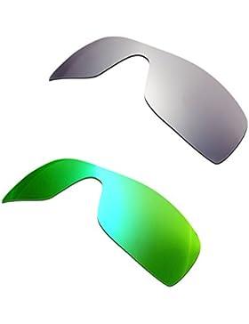 Hkuco Plus Mens Replacement Lenses For Oakley Batwolf Titanium/Emerald Green Sunglasses